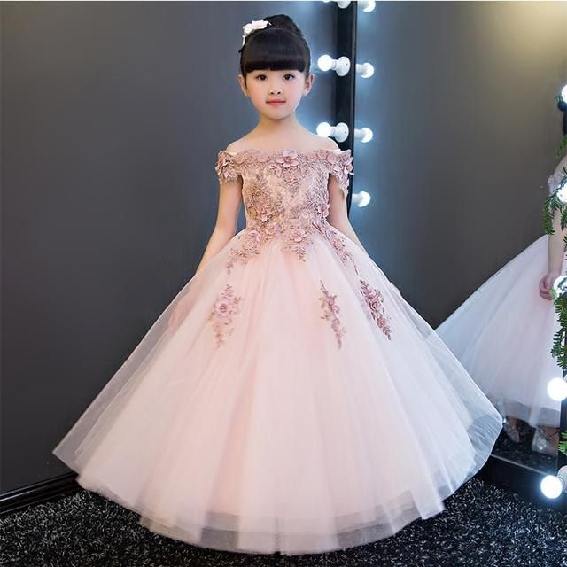 50d22d7d3f Cotton Blend Bead Worked Communion Gown. little girls party wear dresses  and frocks in india, princess line wedding dress Party Wear