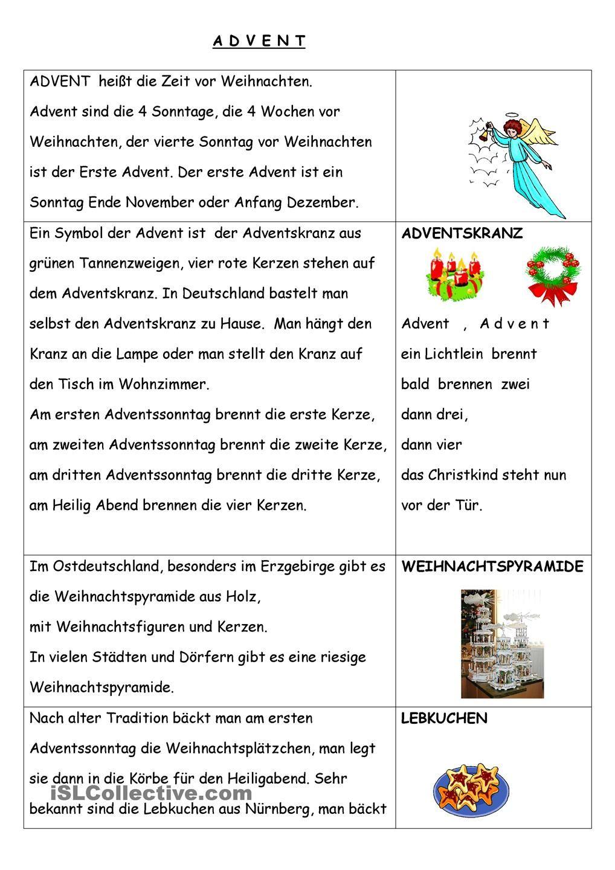 Advent Winter Weihnachten Arbeitsblätter Und Deutsch