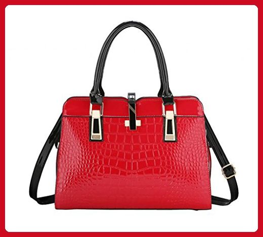 YMB Women's Fashion Crocodile Print Handbag Shoulder Tote Bag Red - Shoulder bags (*Amazon Partner-Link)