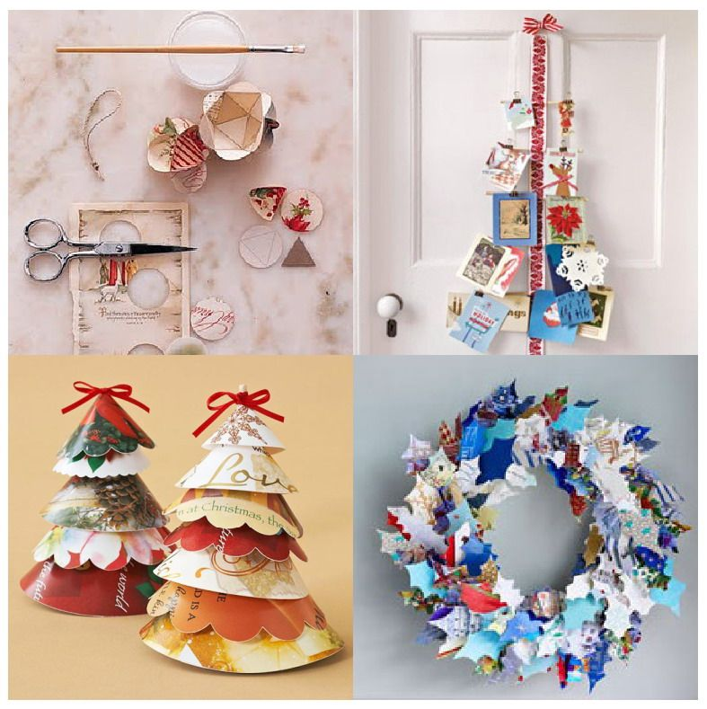 recycle holiday cards into Christmas tree for team cubicle decor - christmas decors