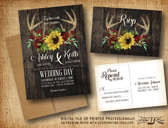 Cheap Sunflower Wedding Invitations: Rustic Wedding Invitation & RSVP
