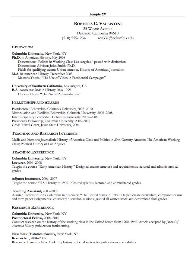 sample cv for teaching assistant