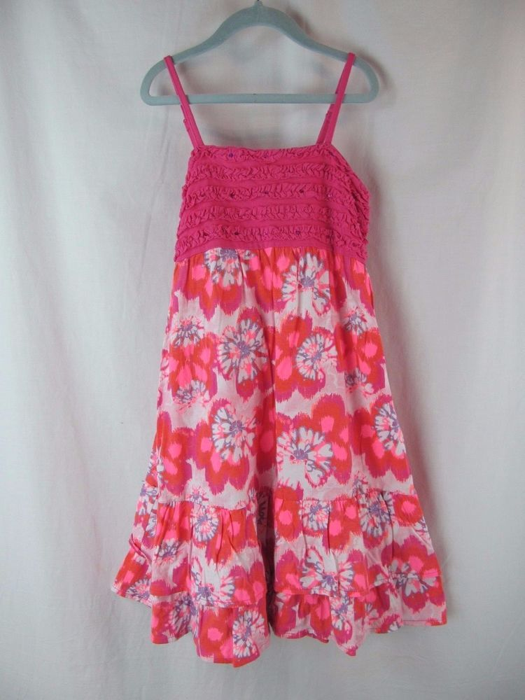 EUC Girls 10 Justice Hot Pink Floral Ruffle Knee Length Party Sun Dress Sundress #Justice #Tiered #DressyEverydayHolidayParty
