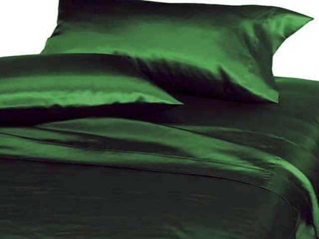Silky Satin Dark Green Pillow Case