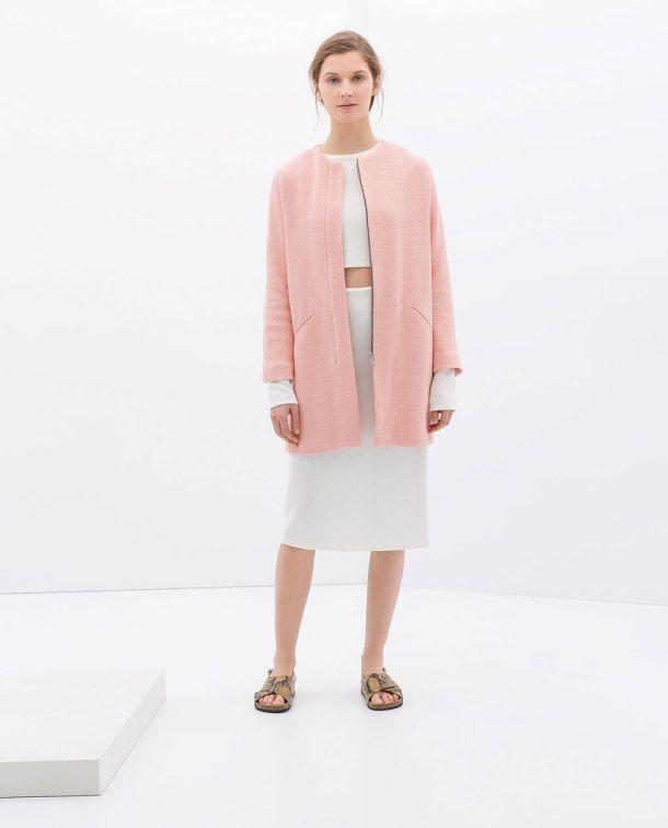 abrigo rosa palo en Zara