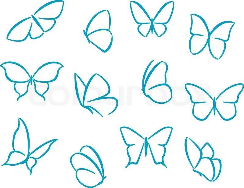 Butterfly outline tattoo. Social icons butterflies silhouettes