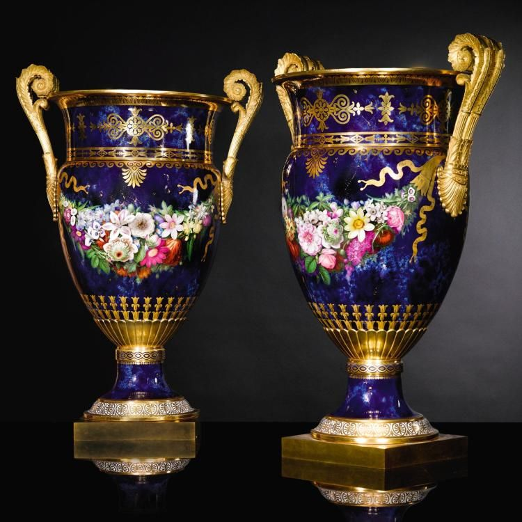 A Pair Of Gilt Bronze Mounted Svres Vases Circa 1816 Jarrones