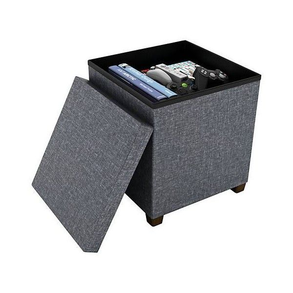 Standard Dark Gray Fabric Square Storage Ottoman (99 BAM) ❤ Liked On  Polyvore Featuring