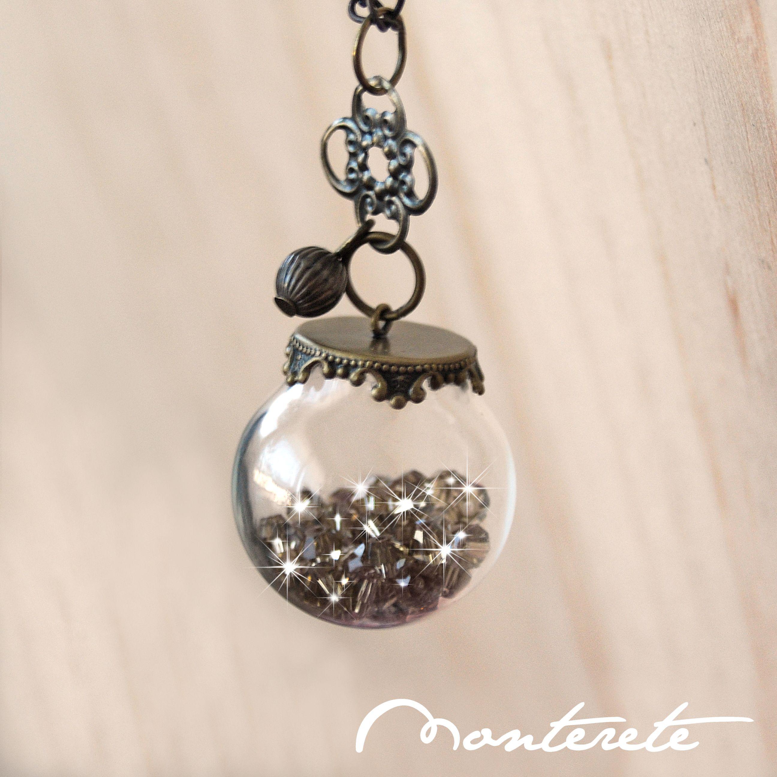 87d65362a96d Collar esfera de cristal Swarovski marrón | Botecitos | Cristal de ...