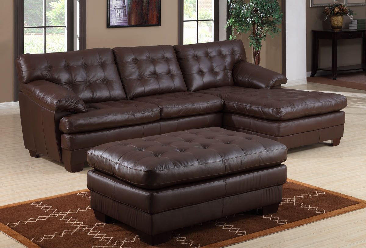 Homelegance 9817 All Leather Sectional Sofa - Brown 9817BRW-L