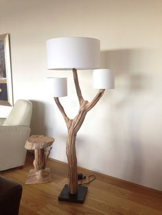 Unique Floor Lamp Weathered Old Wooden Oak Tree Branch With Three Real Wood  Veneer Lampshade On