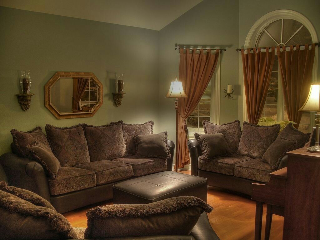 Living Room Decorating Ideas Sage Green Couch sage green walls, chocolate couches, peanut butter drapes, black