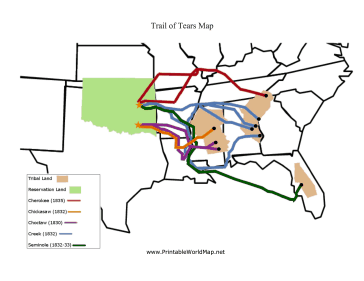 The different routes taken by the Cherokee, Choctaw, Creek ...