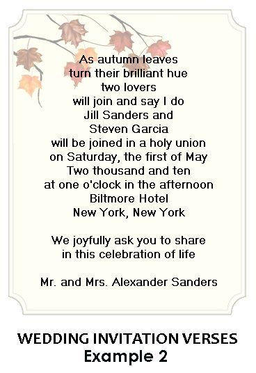 Wedding Invitation Verses Personalized As The