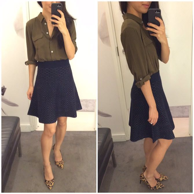 687d2ea297b02  AnnTaylor sweater skirt +  Loft utility blouse both fit perfectly in  petite without alterations