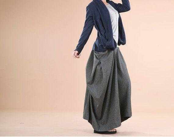 Bud Wool Skirt Women Spring Grey Wool by ttlovewomenclothing 8957b6c0274