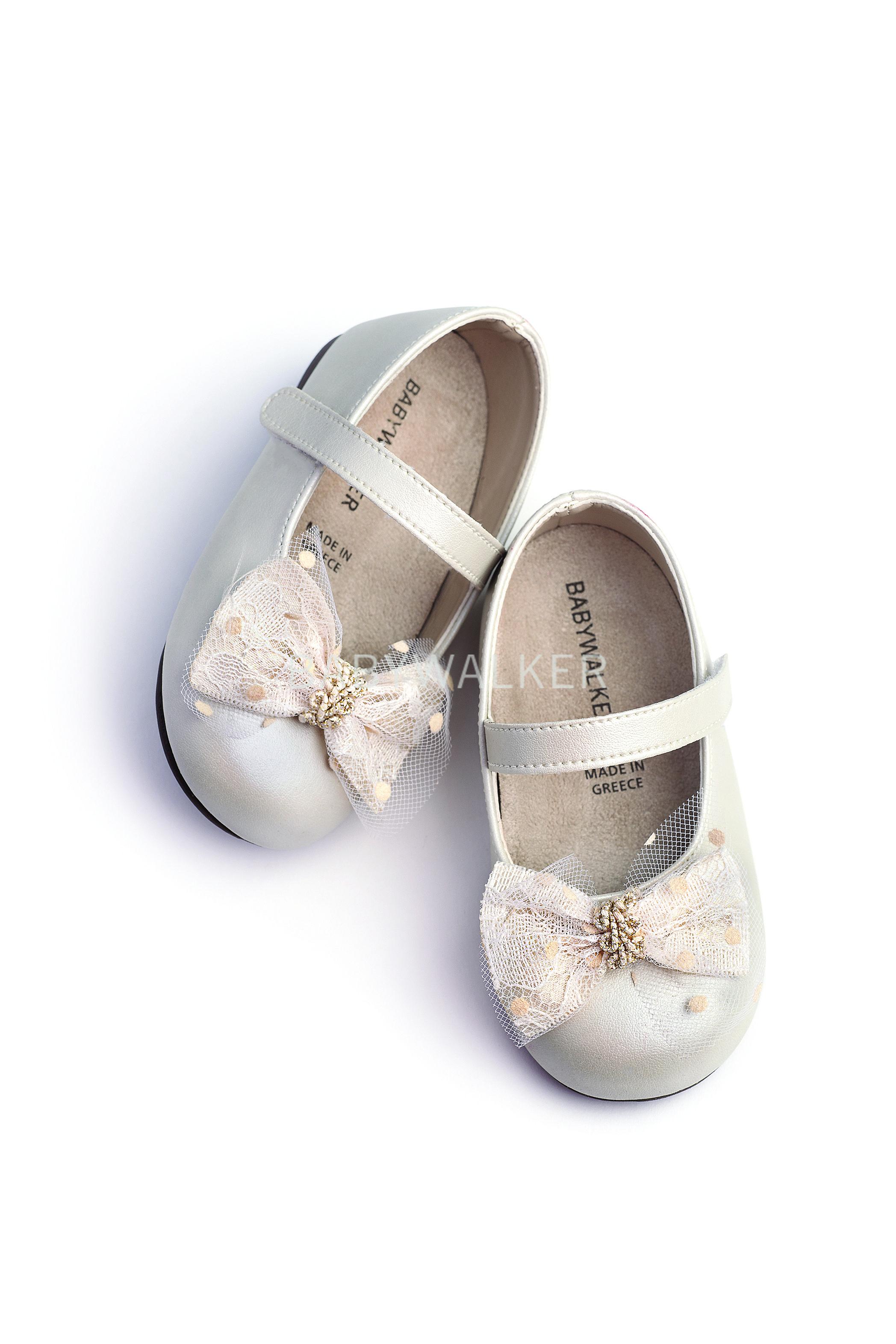 bccd9595cc3 Βαπτιστικό παπούτσι Babywalker για κορίτσι από περλέ συνθετικό δέρμα σε  εκρού.
