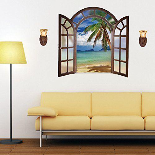 $3.99 - 3D Fake Window Sea Coconut Tree Island Beach Wall Sticker ...