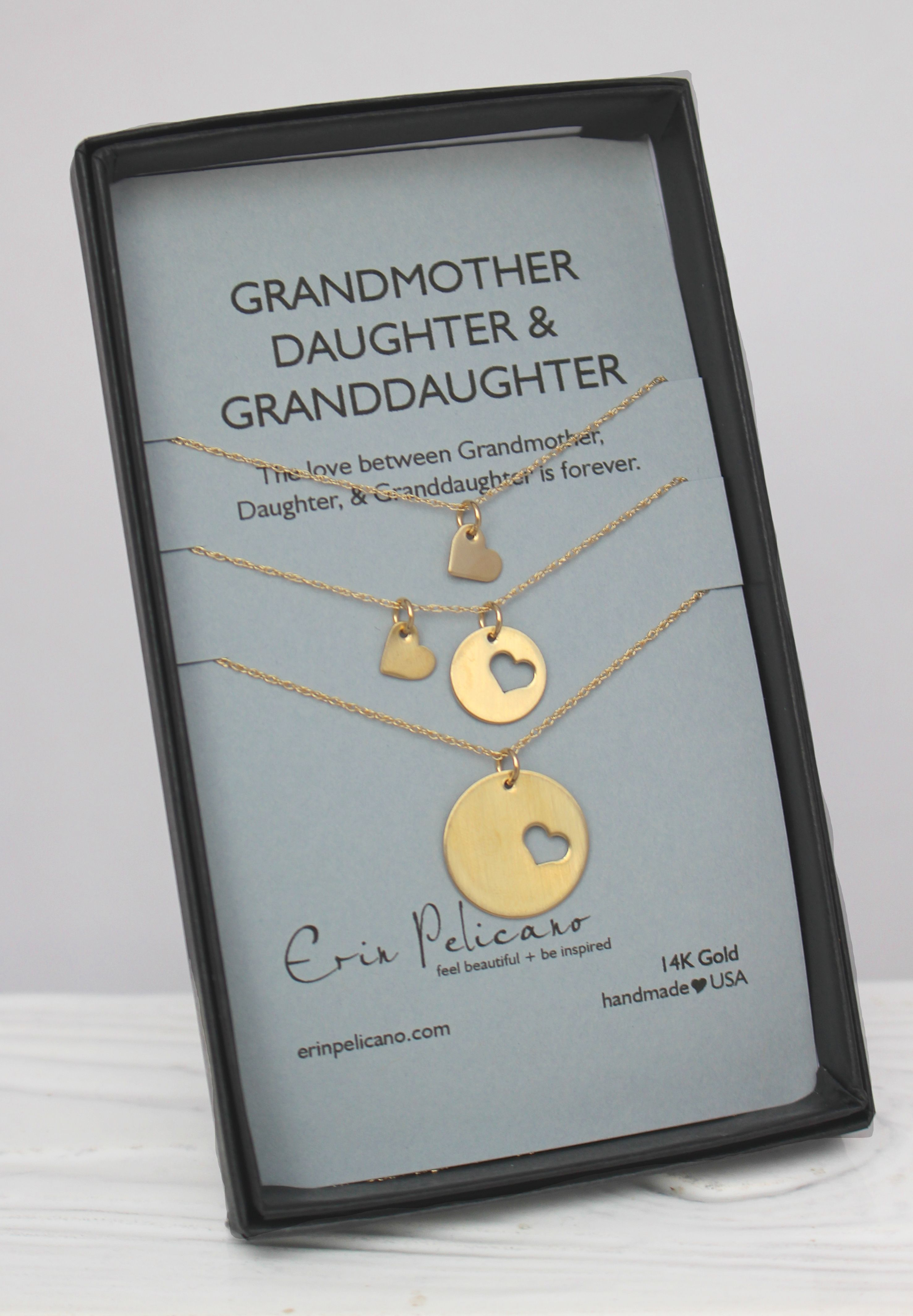 14k Gold Grandmother Daughter Necklace Set Erin Pelicano Daughter Necklace Set Granddaughter Necklace Mother Daughter Jewelry