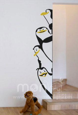 Vinilo ping inos de madagascar vinilos decorativos - Decoracion de paredes infantiles ...