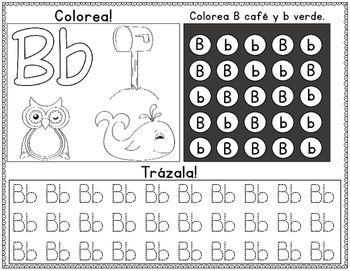 Spanish Alphabet: Colorea, Busca, y Traza Hojas de
