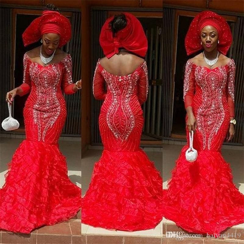 2018 Red African Evening Dresses Off Shoulder 34 Long -3902