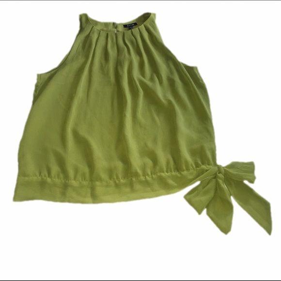 Green Sleeveless Top Pleated neckline. Cute tie on bottom left. Apt. 9 Tops