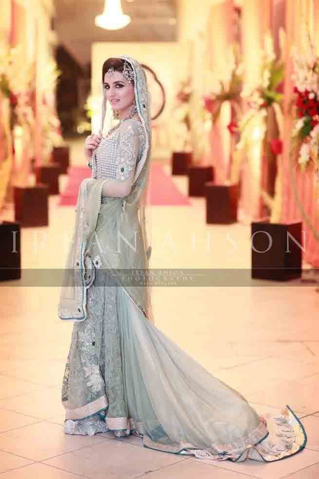 804743e8faa Gray and silver Pakistani bridal long tail maxi gown dress designs 2017