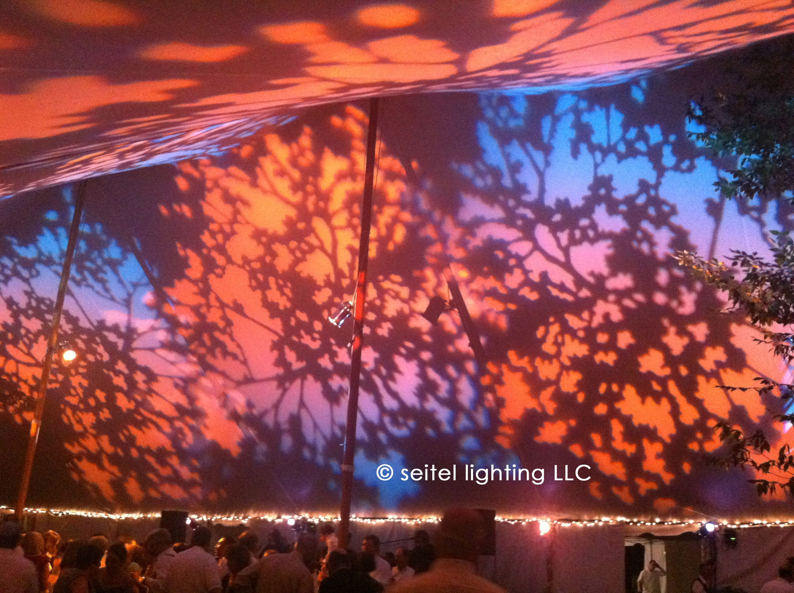 newport lighting concepts and design. amber, pink, lavender, and blue foliage patterns projected with theatrical lekos create a newport lighting concepts design