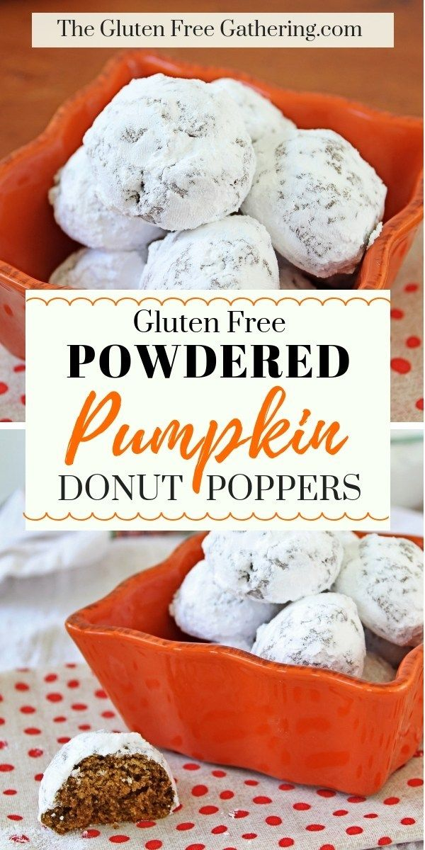 Gluten Free Powdered Pumpkin Donut Poppers • The Gluten Free Gathering #glutenfree #pumpkin #glutenfreebreakfasts