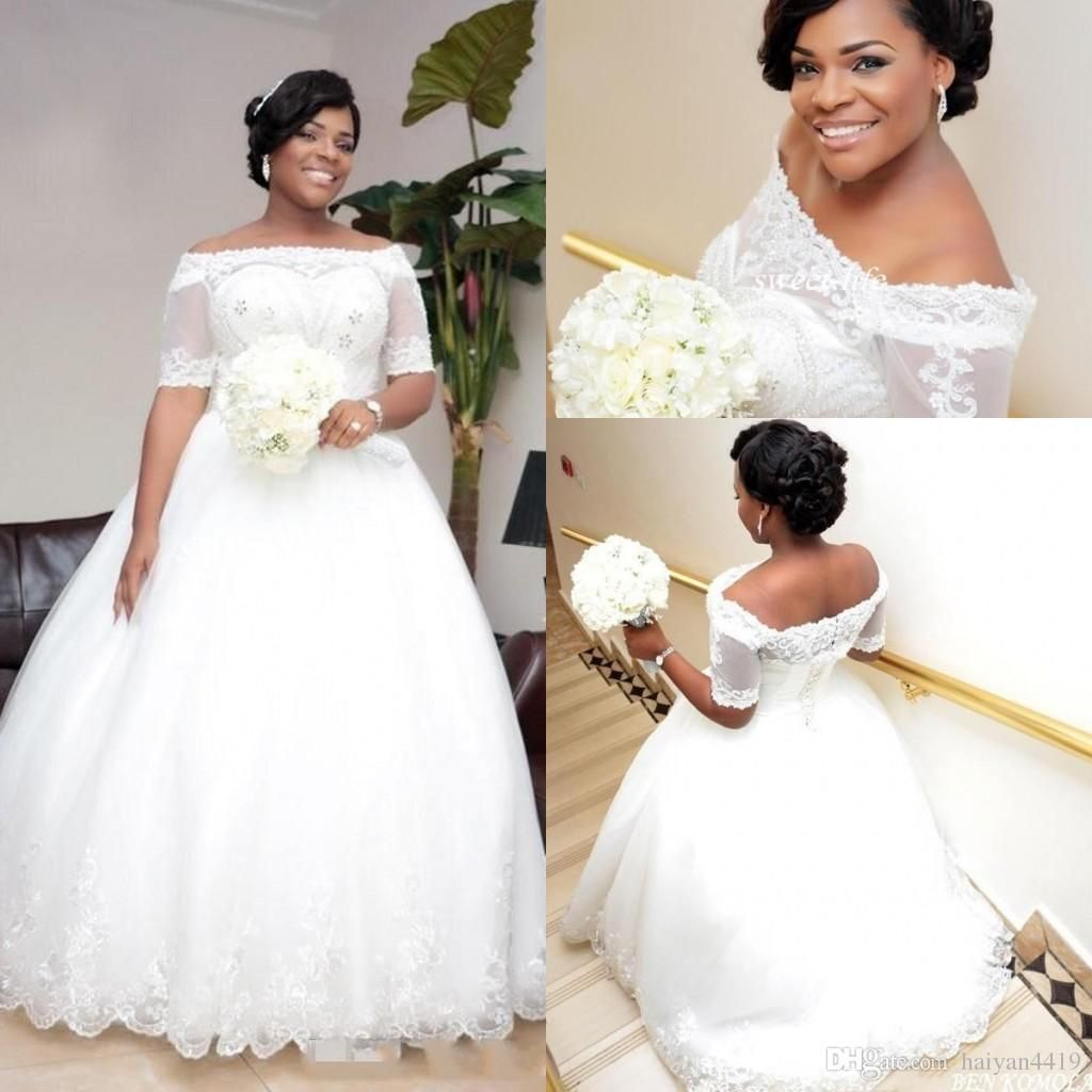 new african style puffy ball gown wedding dresses short sleeves