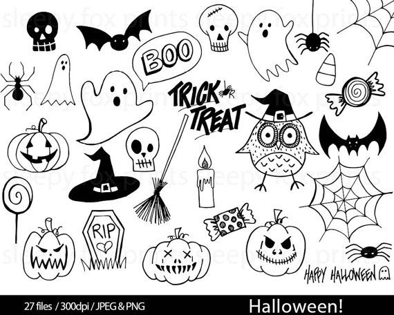 Halloween Black And White Clip Art Clipart Spooky Ghosts Etsy Halloween Art Halloween Doodle Halloween Drawings