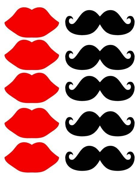 Mustache And Lips Printable Cut Out Sheet - It's Free! : ScrapPNG ...