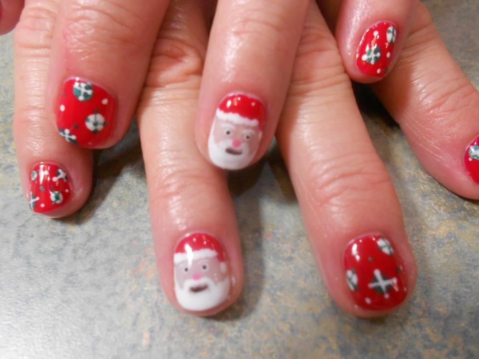 Santa Shellac Nail Art By Misty Christmas Nail Art My Nail Art