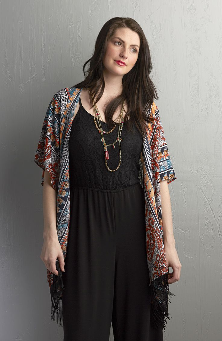 aec5b2f79a3 Dress up your jumpsuit with a kimono and a long layered necklace.   MeijerStyle