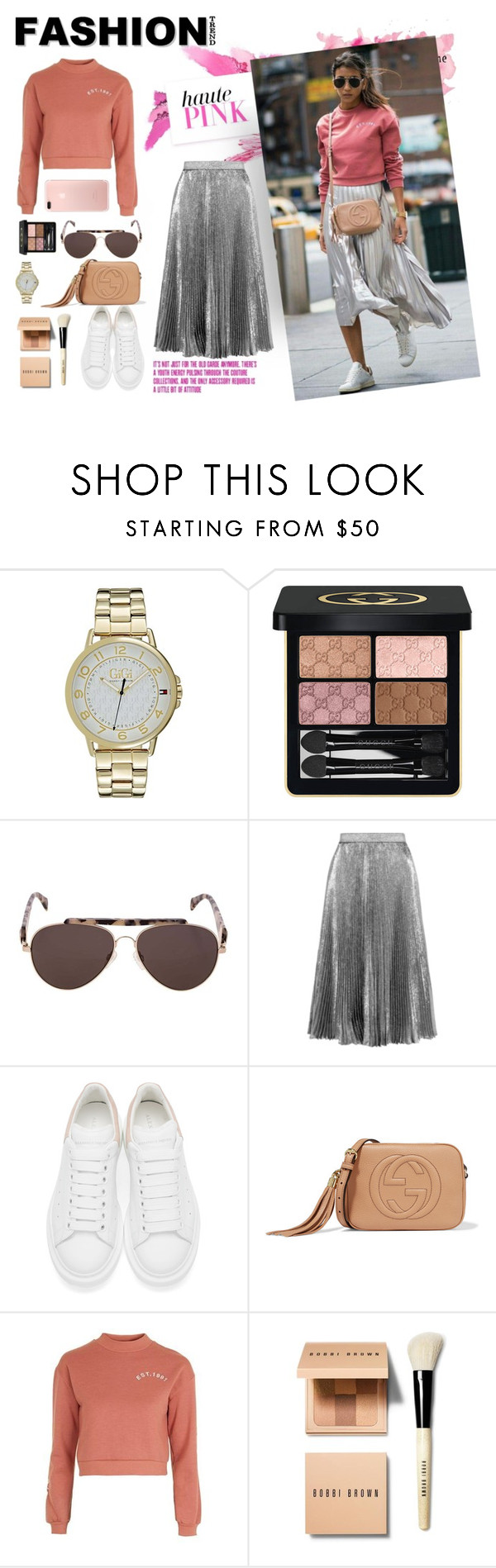 """""""get the street style fw!"""" by jasmimestefany ❤ liked on Polyvore featuring Hedi Slimane, Gucci, Christopher Kane, Alexander McQueen, Topshop and Bobbi Brown Cosmetics"""
