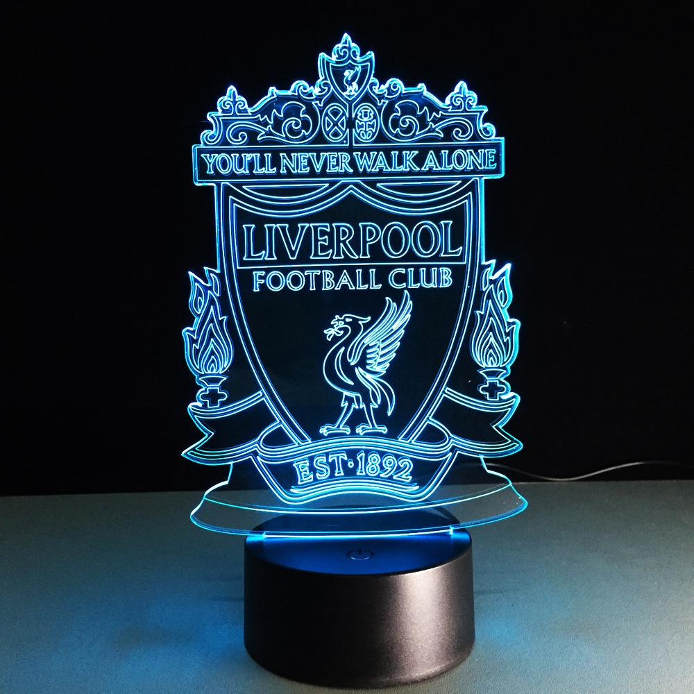 Football Liverpool 3d Optical Illusion Lamp 3d Led Night Light Night Light Kids Night Light