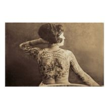 tattooed ladies sideshow   Tattooed Lady Vintage Circus Sideshow Poster Print Pictures