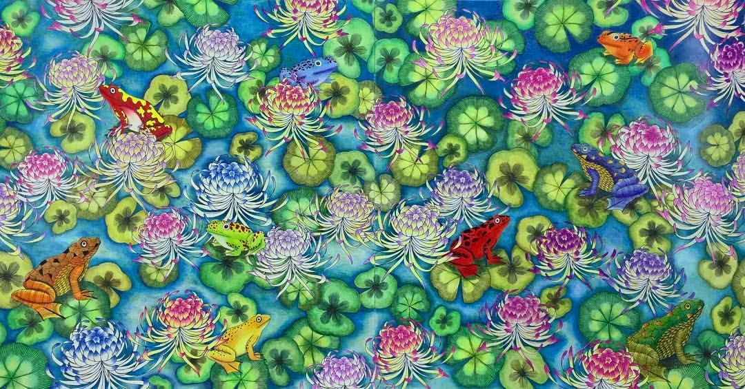 A Pond With Frogs And Water Lilies From Animal Kingdom Deluxe Edition In Spanish By Mil Millie Marotta Coloring Book Millie Marotta Millie Marotta Tropical