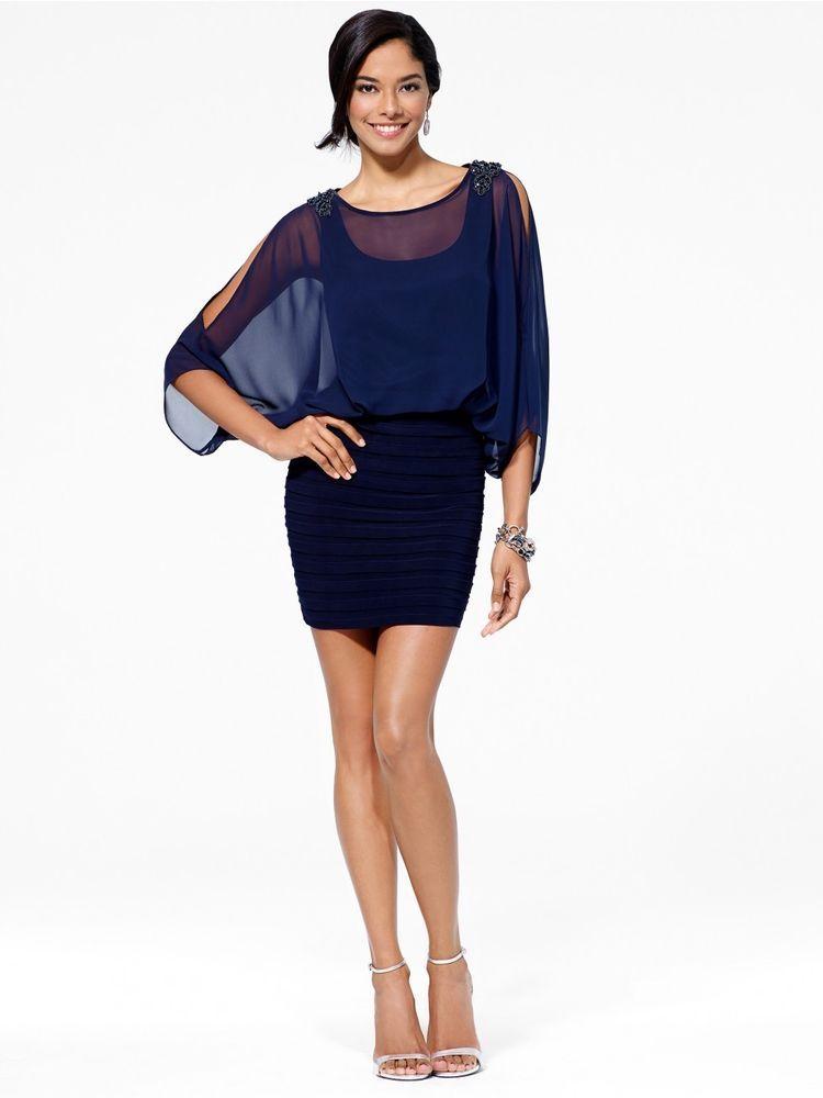 CACHE NWT Sexy Navy Blue Slit-Sleeve Chiffon Evening Cocktail Dress    4 S  6 M #CACHE #Blouson #Cocktail