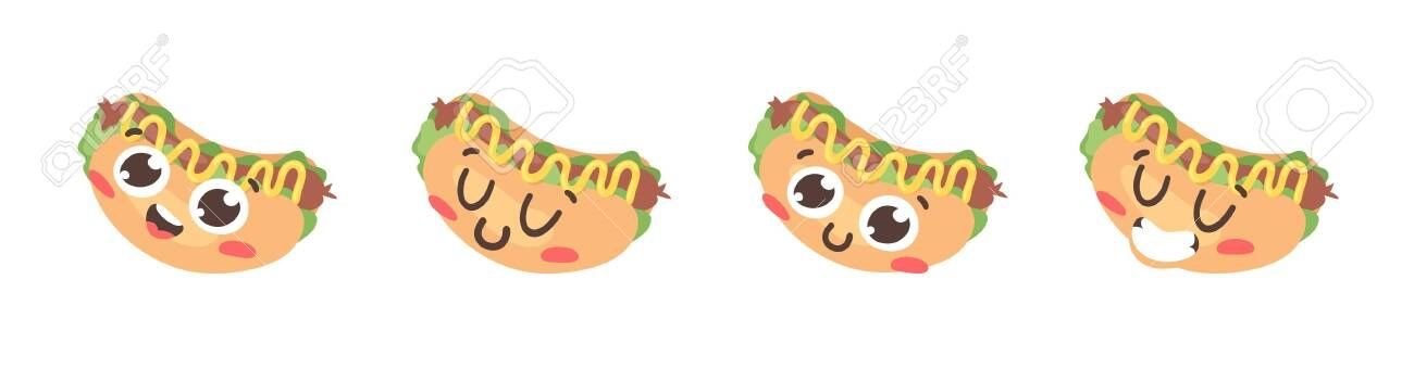 Cartoon Drawing Set Of Fast Food Emoji Hand Drawn Emotional Meal Actual Vector Illustration American Cuisine Creative Ink In 2020 Food Cartoon Food Drawing Fast Food