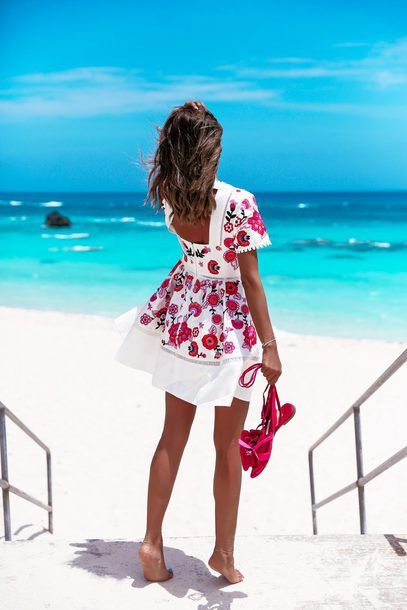 fa962108a5ef $798 Kate Spade The Perfect Floral Beach Dress Bright White Open Back  Backless Square Back Red And Pink Floral Flower Print Short Sleeved Mini  Dress Tumblr