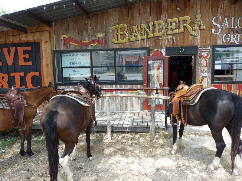 Horses In Front Of Saloon Bandera Texas Bandera Texas Roadtrip Horses