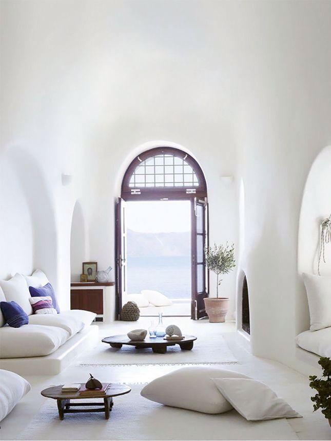 Greek Villa In Santorini Greece White Cave Home Living Spaces