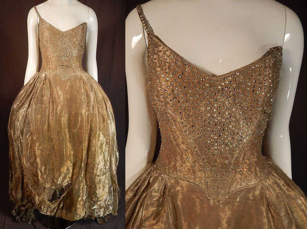 Gold Rhinstone Evening Full Dresses