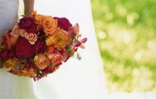 Hot pink and orange bridal bouquet.