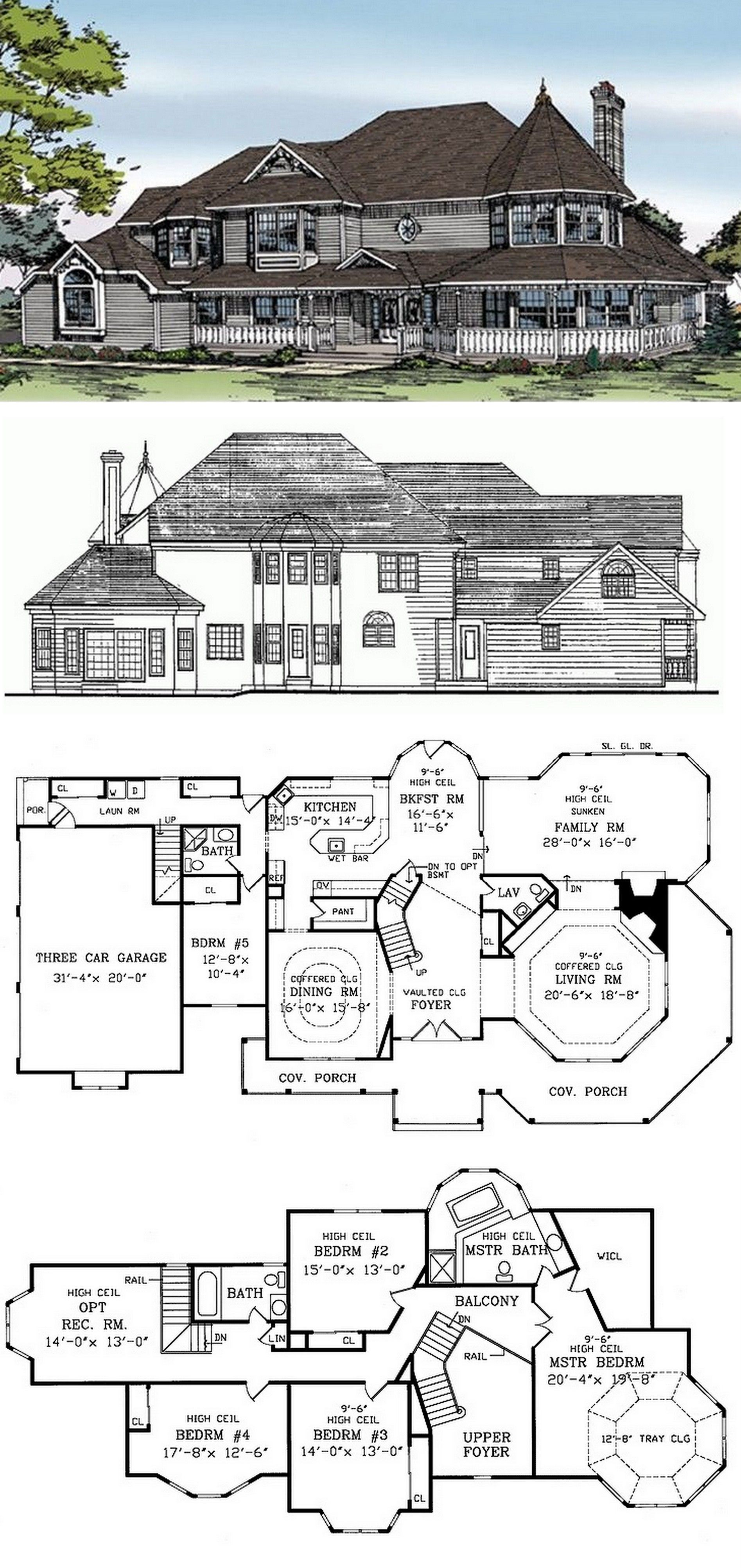Victorian Style House Plan 5 Beds 3 5 Baths 4008 Sq Ft Plan 314 216 Victorian House Plans Basement House Plans Queen Anne House
