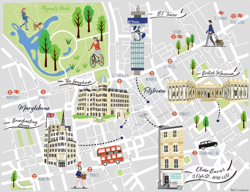 Illustrated Location Map London Fitzrovia Broadcasting House Bt