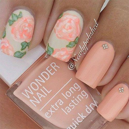 50 Flower Nail Designs for Spring. Peach Nail ArtPeach ... - 50 Flower Nail Designs For Spring Flower Nail Art, Flower Nails