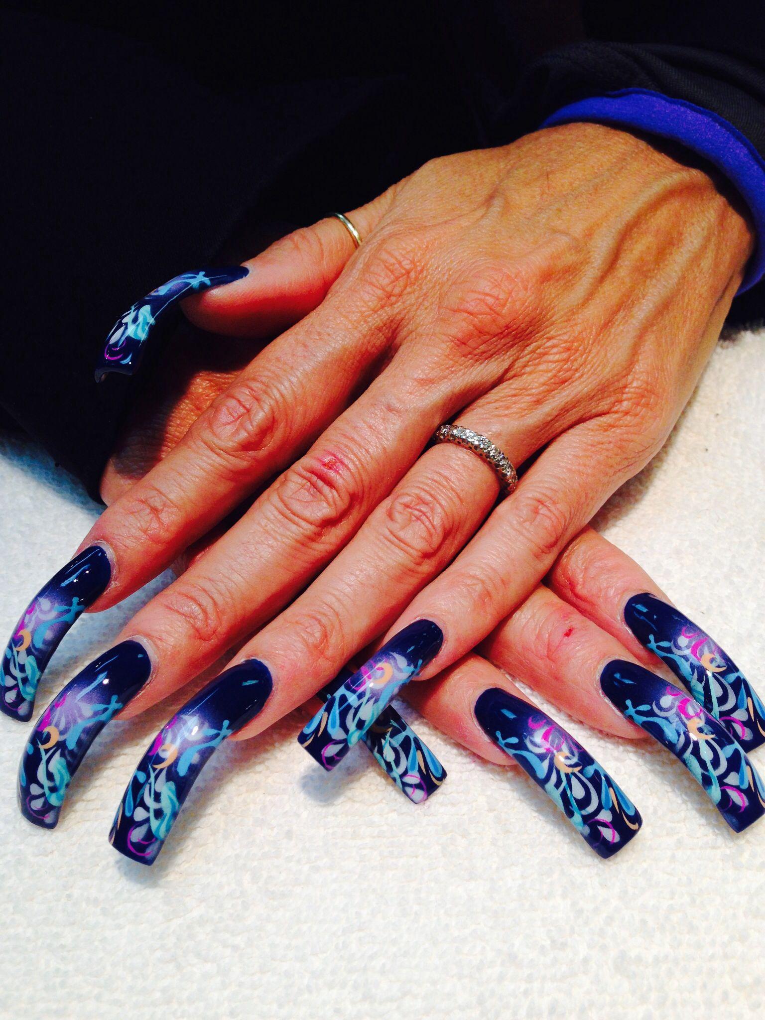 Blue Airbrush Nails Nails Pinterest Airbrush Nails Long